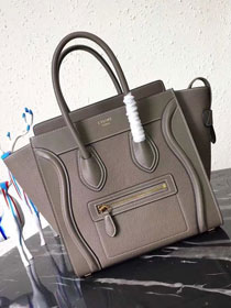 Celine original smooth&grained calfskin micro luggage handbag 189793 grey