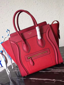 Celine original smooth&grained calfskin micro luggage handbag 189793 red
