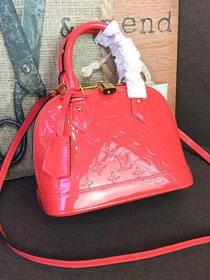 Louis vuitton original monogram vernis leather alma BB M90174 watermeloon red