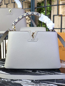 Louis vuitton orignal calfskin capucines pm M52385 light grey