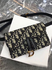 2019 Dior original canvas saddle wallet on chain clutch S5620 navy blue