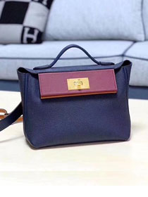 2019 Hermes original handmade togo leather small kelly 2424 bag H03698 navy blue
