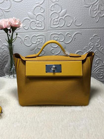 2019 Hermes original handmade togo leather small kelly 2424 bag H03698 yellow
