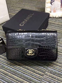 CC original crocodile calfskin mini flap bag A69900 black