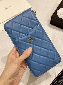 CC original lambskin classic pouch for iphone A81598 blue