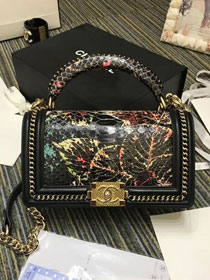 CC original python leather medium le boy handbag A94804 black