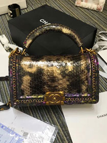 CC original python leather medium le boy handbag A94804 gold&purple