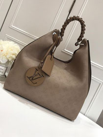 2019 louis vuitton original mahina leather carmel hobo bag M52950 khaki