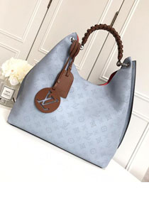 2019 louis vuitton original mahina leather carmel hobo bag M52950 light blue