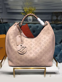 2019 louis vuitton original mahina leather carmel hobo bag M52950 light pink
