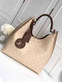 2019 louis vuitton original mahina leather carmel hobo bag M53188 cream