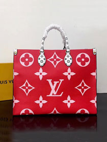 2020 louis vuitton original monogram coated canvas onthego tote bag M44569 red