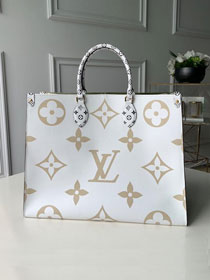 2019 louis vuitton original monogram coated canvas onthego tote bag M44571 cream