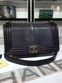 CC original genuine stingray skin boy bag A67086 black