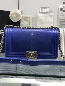 CC original genuine stingray skin boy bag A67086 blue