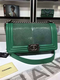 CC original genuine stingray skin boy bag A67086 green