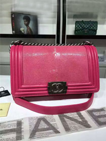 CC original genuine stingray skin boy bag A67086 rose red