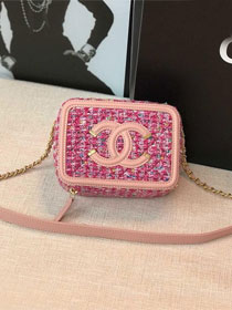 2019 CC original tweed clutch with chain A84452 pink