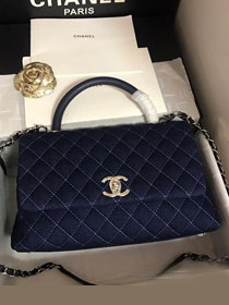 2019 CC original denim large coco handle bag A92991 navy blue