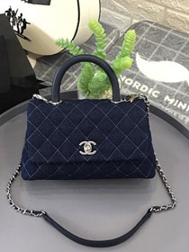 2019 CC original denim small coco handle bag A92990 navy blue