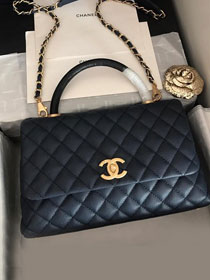2019 CC original grained calfskin large coco handle bag A92991 black