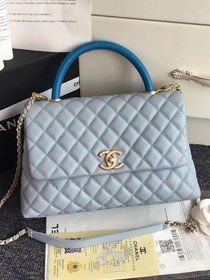 2019 CC original grained calfskin large coco handle bag A92991 light blue