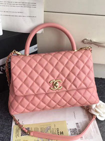 2019 CC original grained calfskin large coco handle bag A92991 pink