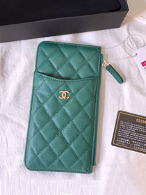 CC original grained calfskin classic pouch for iphone A81598 green
