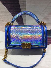 CC original python leather medium boy handbag A94804 blue