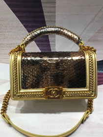 CC original python leather medium boy handbag A94804 gold