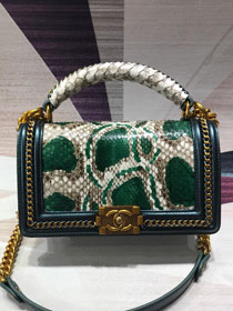 CC original python leather medium boy handbag A94804 green
