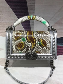 CC original python leather medium boy handbag A94804 silver