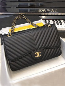 CC original grained calfskin large double flap bag A58600-2 black