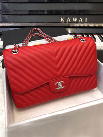 CC original grained calfskin large double flap bag A58600-2 red