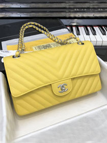 CC original grained calfskin medium double flap bag A01112-2 yellow