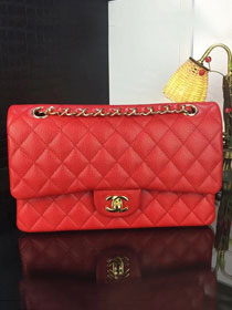 CC original handmade grained calfskin medium flap bag A01112 red