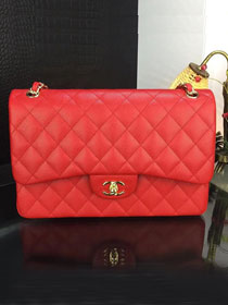 CC original handmade grained calfskin large flap bag A58600 red