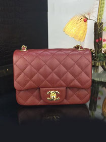 CC original handmade grained calfskin super mini flap bag A35200 bordeaux