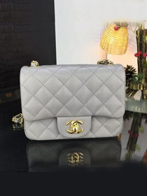 CC original handmade grained calfskin super mini flap bag A35200 grey