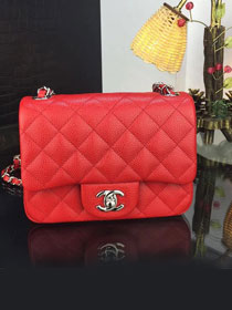 CC original handmade grained calfskin super mini flap bag A35200 red