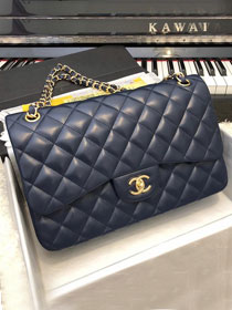 CC original handmade lambskin large flap bag A58600 navy blue