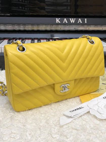 CC original lambskin medium double flap bag A01112-2 yellow