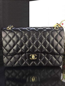 CC original handmade lambskin large flap bag A58600 black