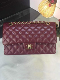 CC original handmade lambskin medium flap bag A01112 bordeaux