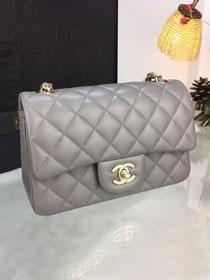 CC original handmade lambskin mini flap bag A69900 grey