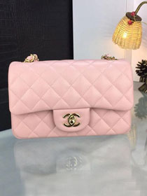 CC original handmade lambskin mini flap bag A69900 pink