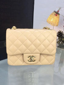 CC original handmade lambskin super mini flap bag A35200 apricot
