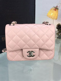 CC original handmade lambskin super mini flap bag A35200 pink