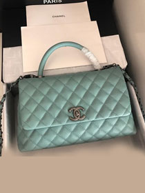 2019 CC original grained calfskin large coco handle bag A92991 mint green