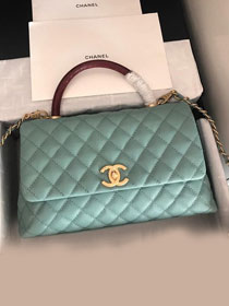 2019 CC original grained calfskin large coco handle bag A92991 mint green&bordeaux